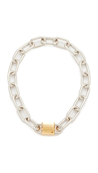 Alexander Wang Double Lock Necklace - Gold/Rhodium