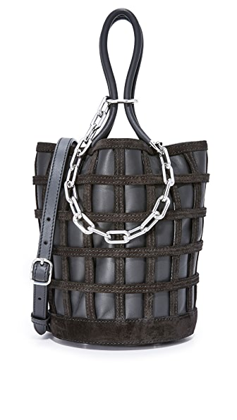 Alexander Wang Roxy Cage Bucket Bag In Black