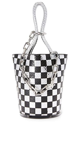 Alexander Wang Checkerboard Roxy Mini Bucket Bag In Black