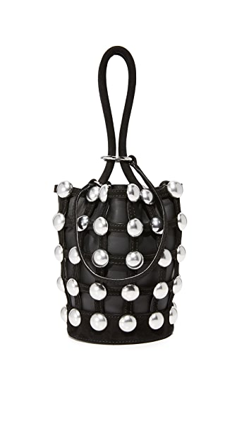 Alexander Wang Ball Stud Roxy Cage Mini Bucket Bag In Black