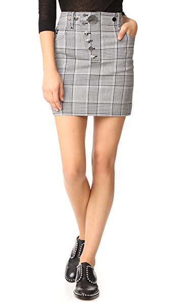 Alexander Wang High Waisted Miniskirt with Snap Detail - Black/White