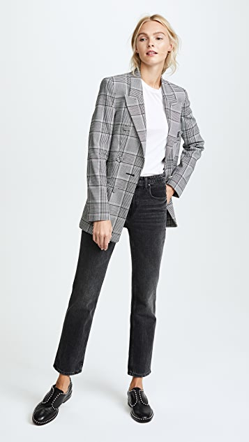 Alexander Wang Peaked Lapel Leather Sleeve Jacket