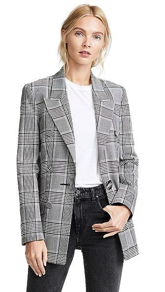 Alexander Wang Peaked Lapel Leather Sleeve Jacket In Black/White
