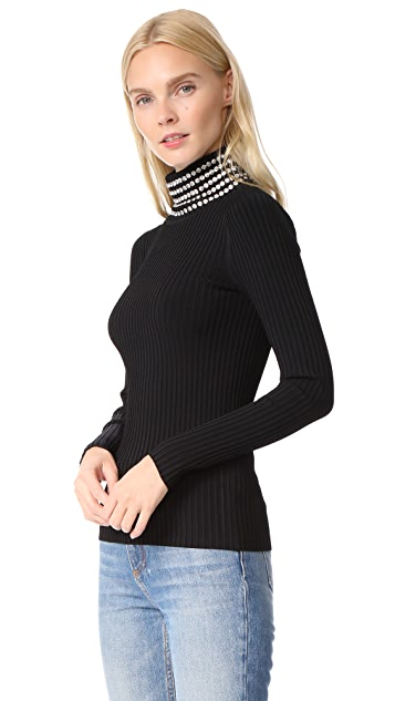 Alexander Wang Turtleneck with Crystal Trim