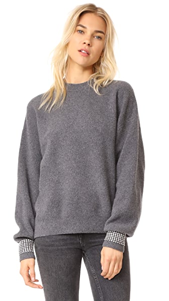 Alexander Wang Crew Neck Pullover with Crystal Trimmed Cuffs - Charcoal