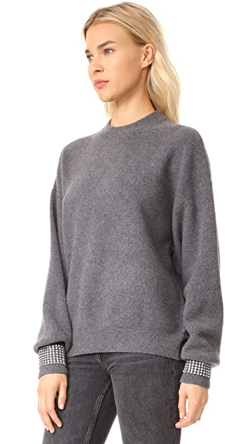 Alexander Wang Crew Neck Pullover with Crystal Trimmed Cuffs