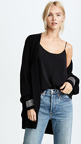 Alexander Wang Oversized Cardigan with Crystal Cuff Trim - Black