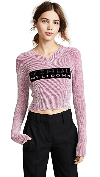 Alexander Wang Vinyl Meltdown Sweater In Mauve