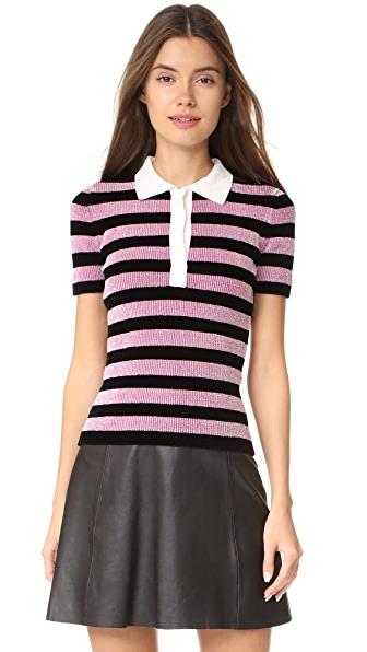Alexander Wang Chenille Polo Tee In Black/Mauve