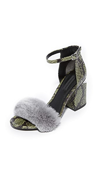 Alexander Wang Abby Ankle Strap Sandals In Army/Grey