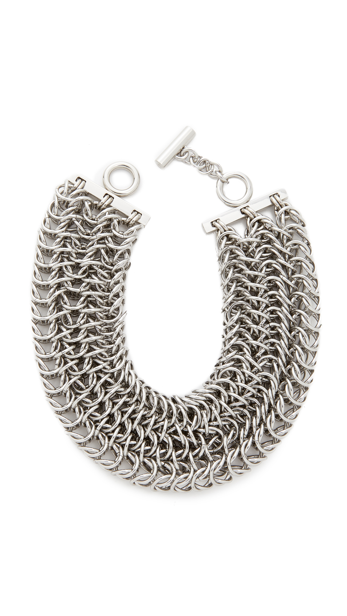 Alexander Wang 3 Row Box Chain Necklace - Silver