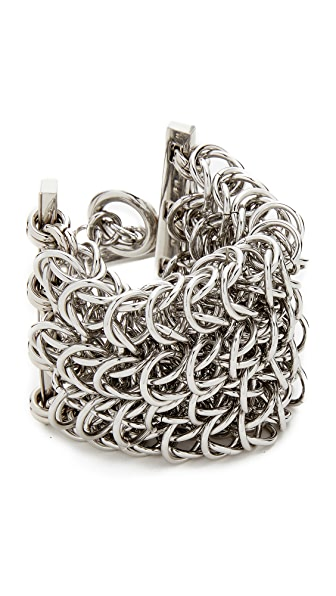 Alexander Wang 4 Row Box Chain Bracelet In Silver