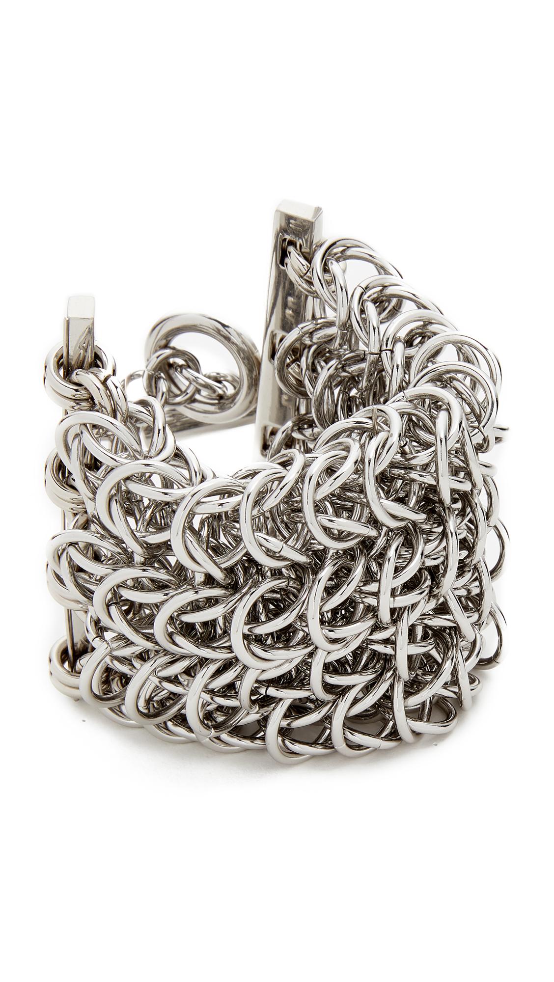 Alexander Wang 4 Row Box Chain Bracelet - Silver