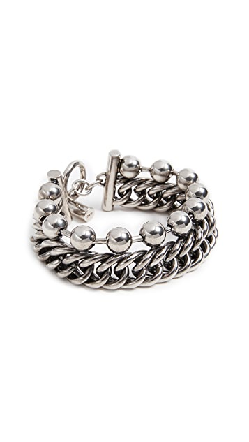 Alexander Wang Ball Chain Curb Chain Stacked Bracelet