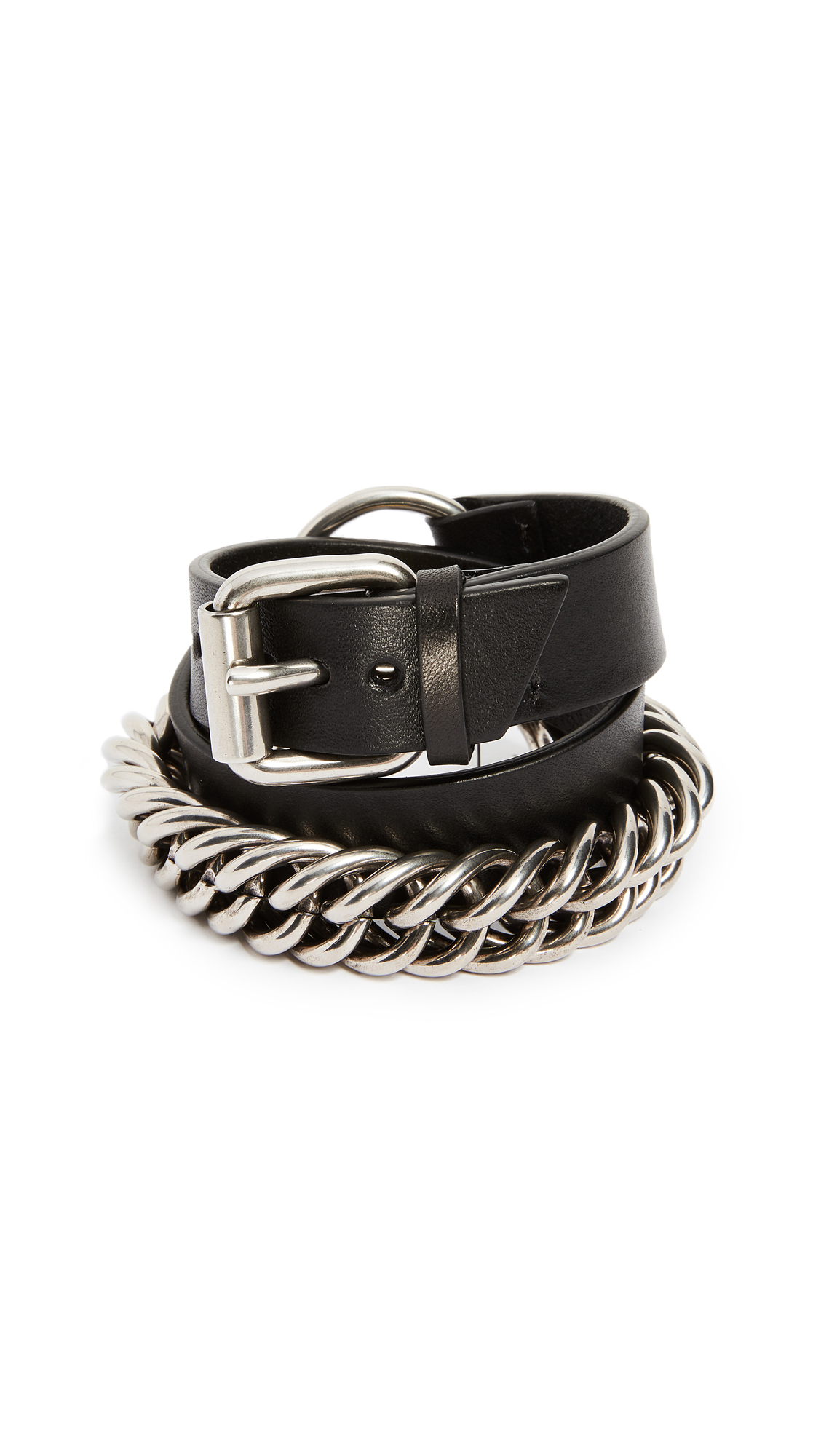 Alexander Wang Double Wrap Leather and Chain Bracelet - Black/Silver