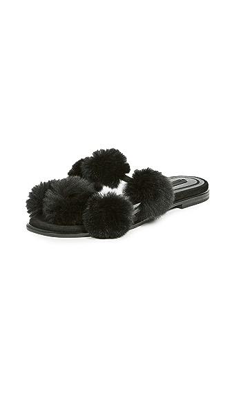 Alexander Wang Ava Fur Mules In Black