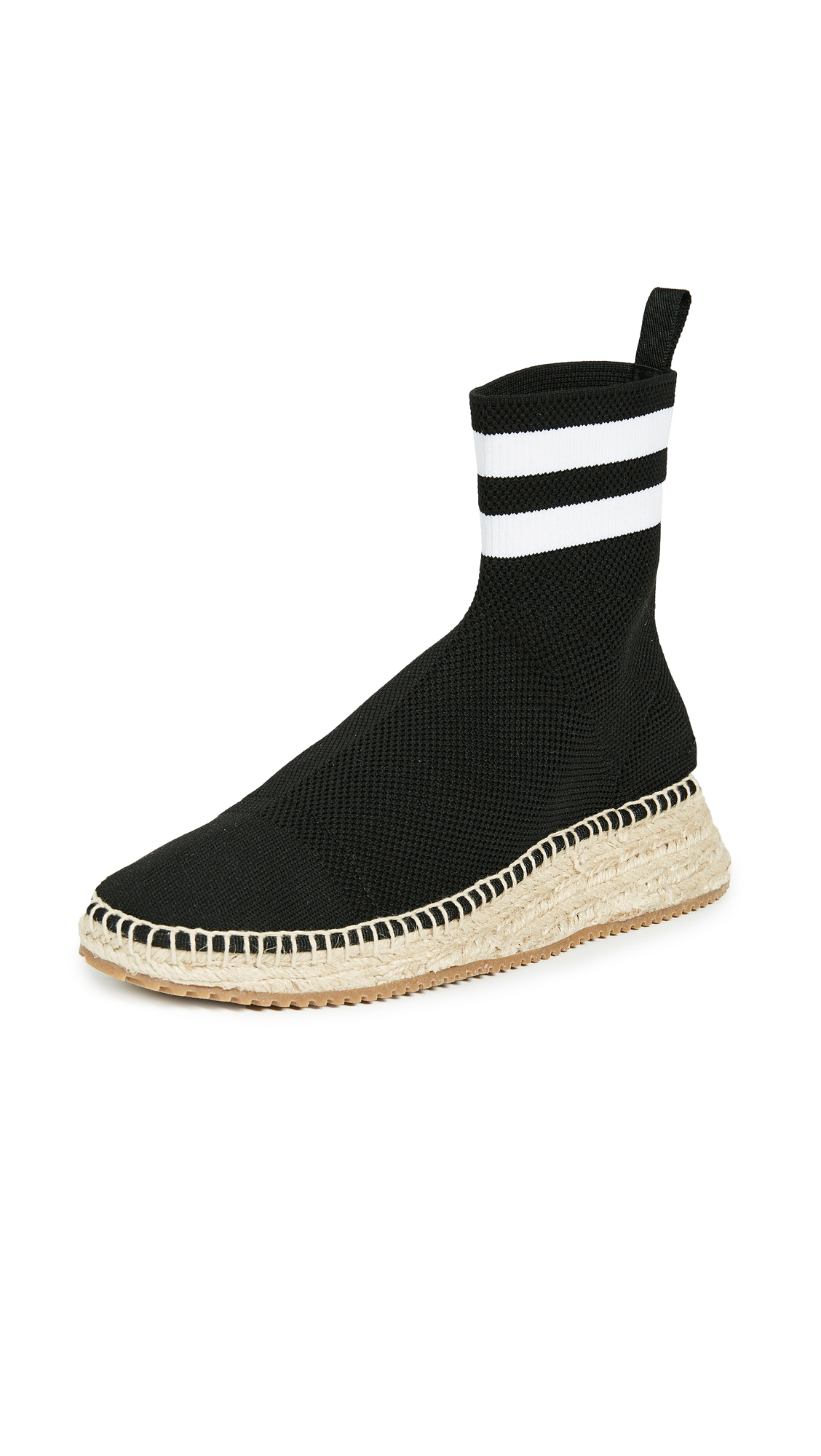 Alexander Wang Dylan High Knit Espadrille Runners - Black/White