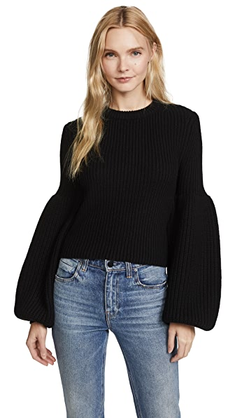 Alexander Wang Cropped Pullover with Engineered Rib Sleeves In Black