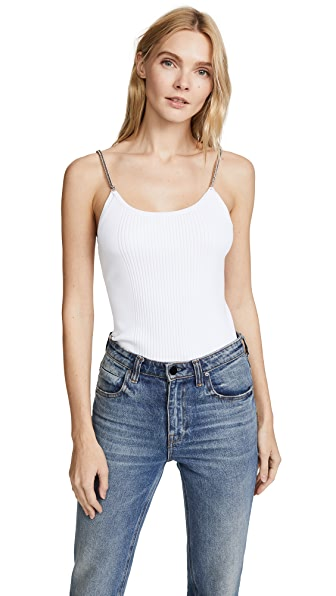 Alexander Wang Ribbed Tank with Chain Straps In White