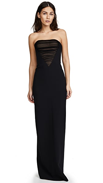 Alexander Wang Deconstructed Bustier Gown with Tulle Front Detail In Black