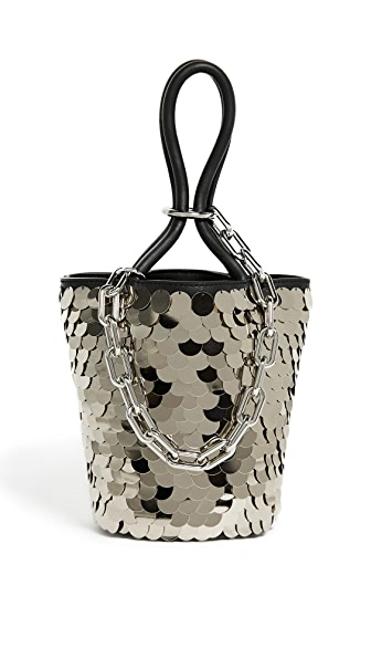 Alexander Wang Roxy Mini Bucket Bag with Shiny Paillettes In Black