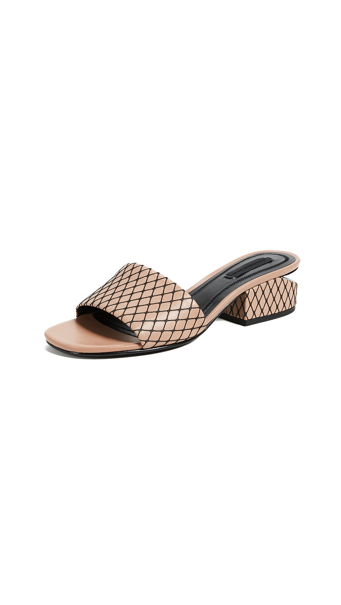Alexander Wang Lou Low Heel Slide Sandals - Nude