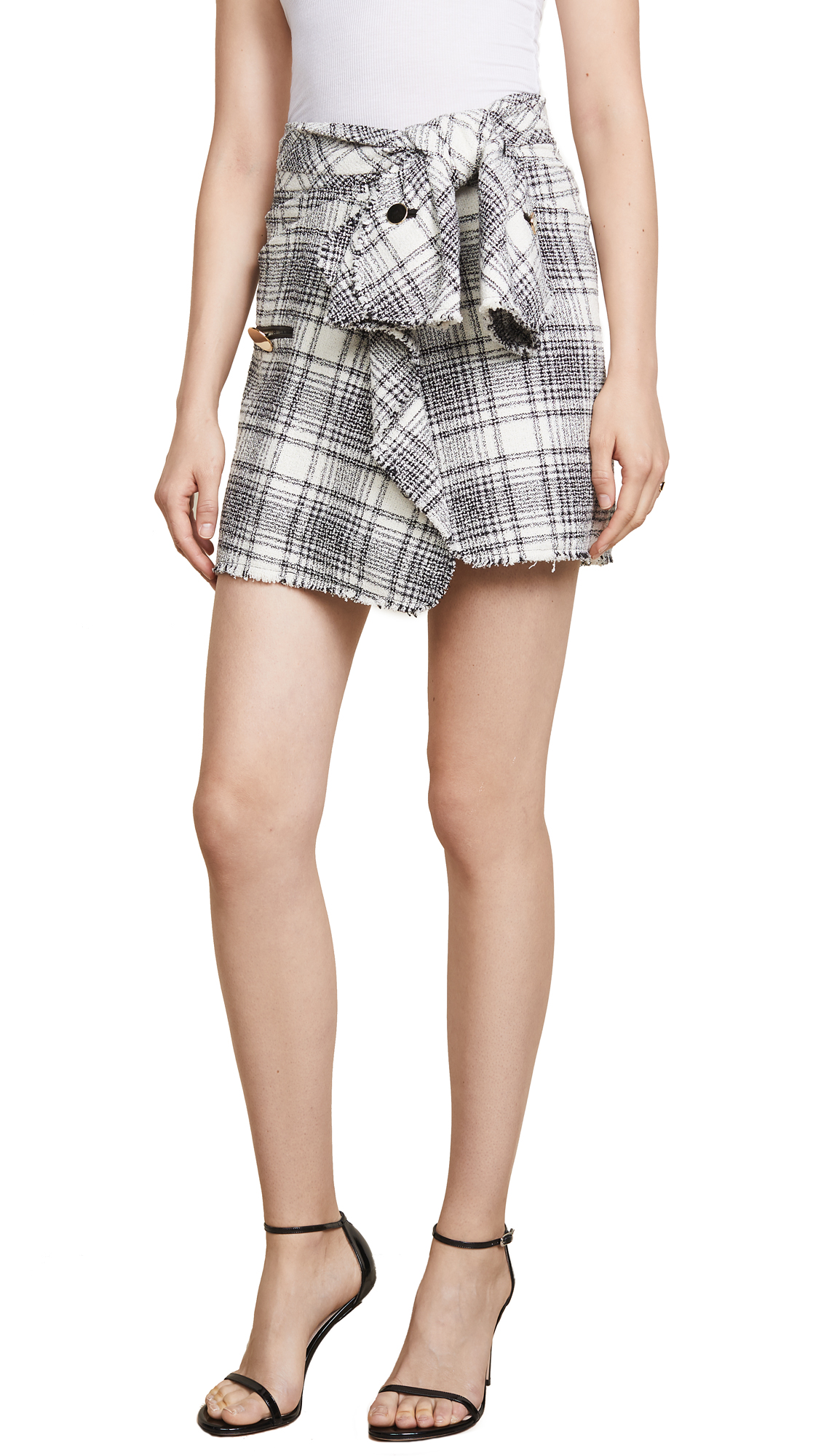 Wrap-Effect Checked Bouclé-Tweed Mini Skirt, Black And White