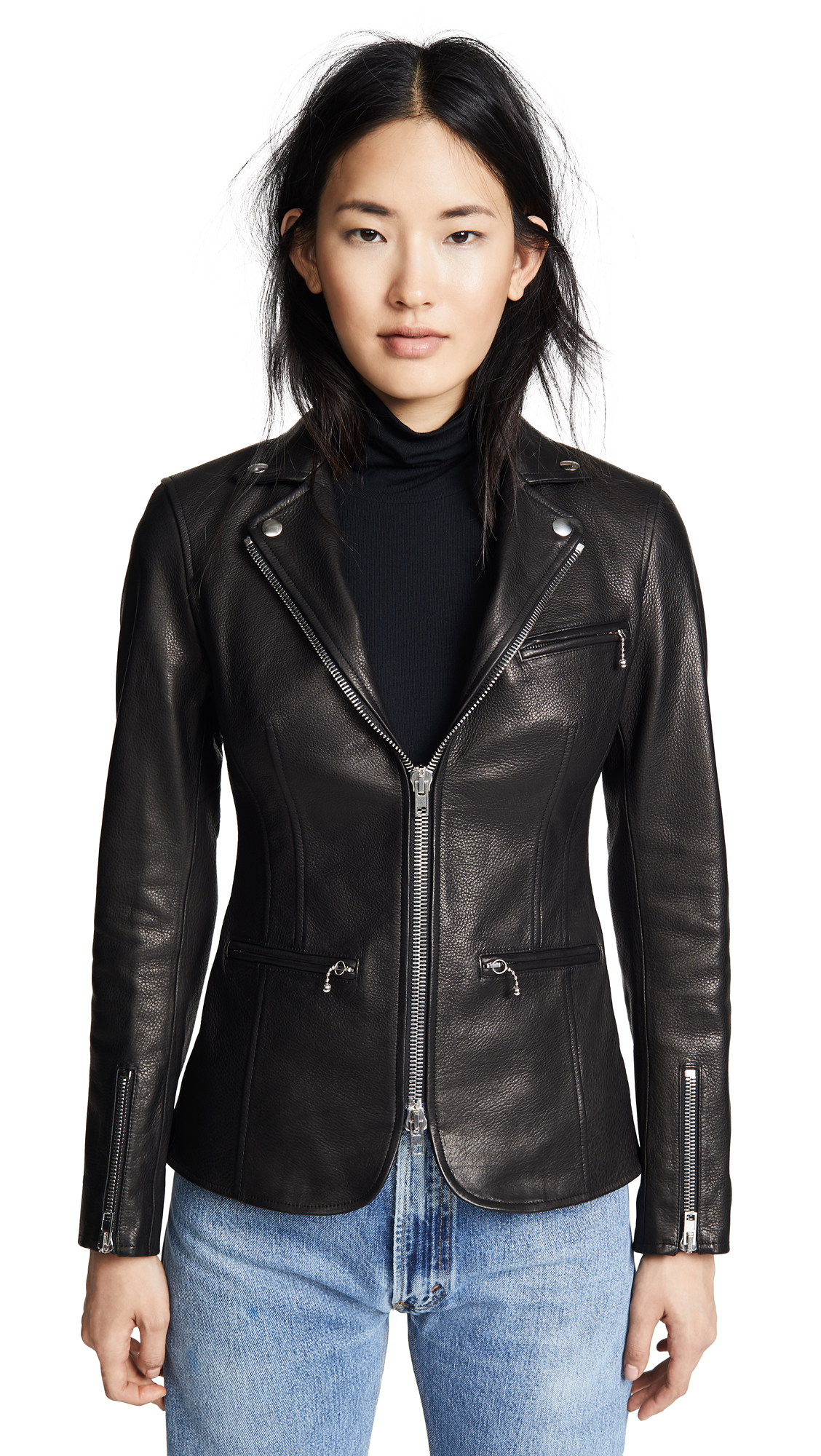 FITTED MOTO BLAZER WITH ZIP DETAIL