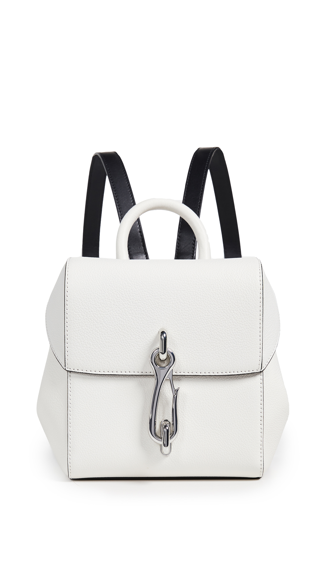 Hook Mini Smooth And Textured-Leather Backpack in White