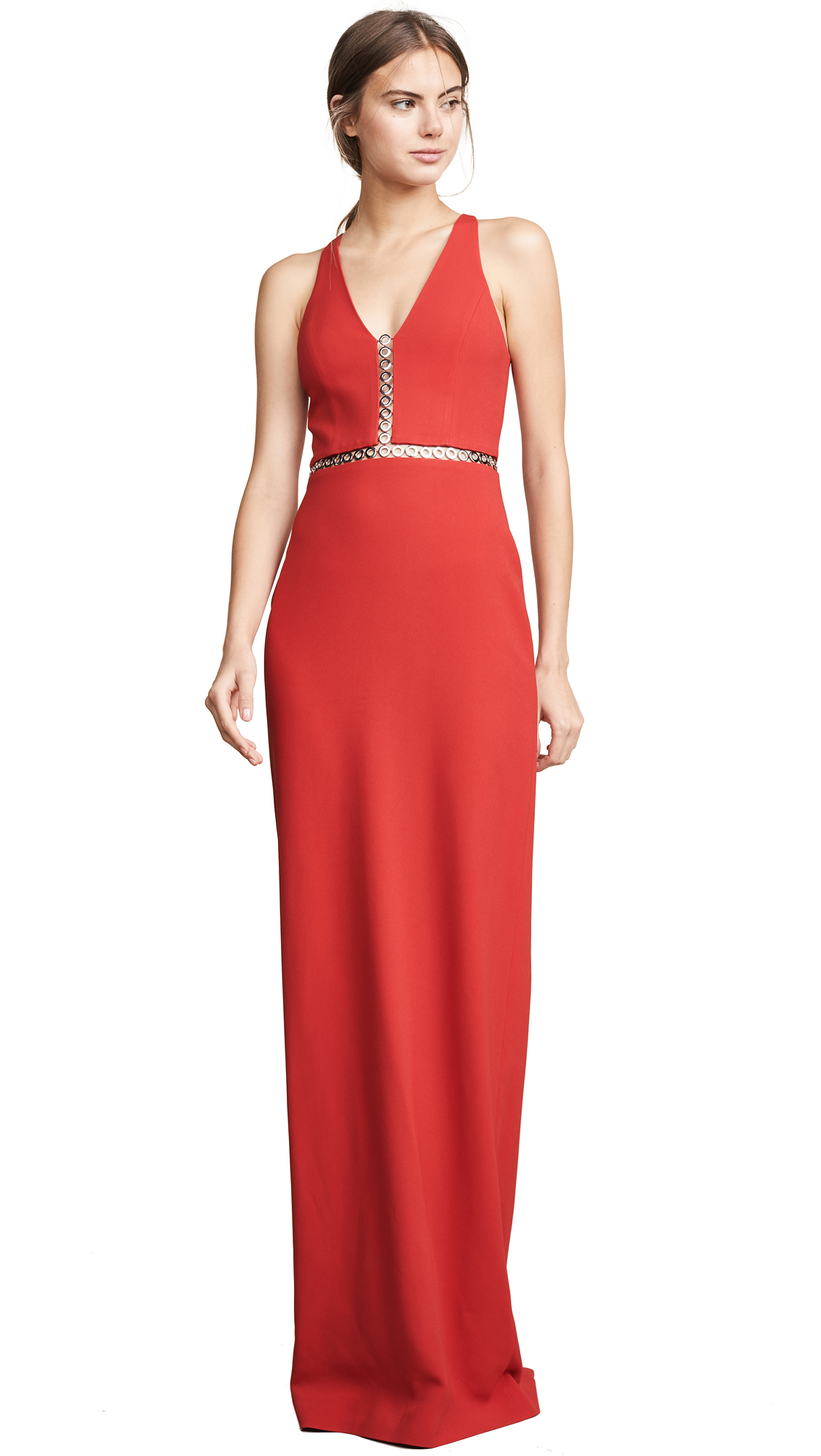 Grommet-Inset Crepe Gown - Red Size 0