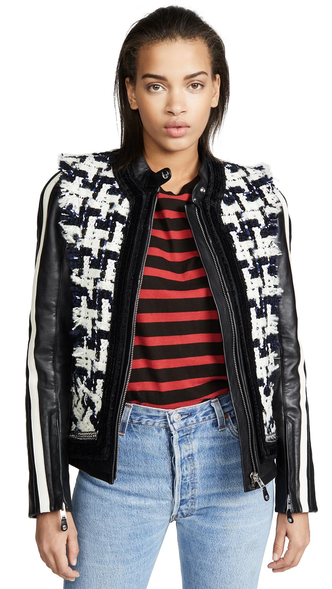 Oversized Tweed & Leather Hybrid Jacket in Black