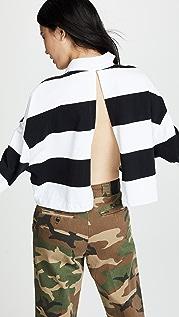 Alexander Wang Cropped Rugby Stripe Shirt