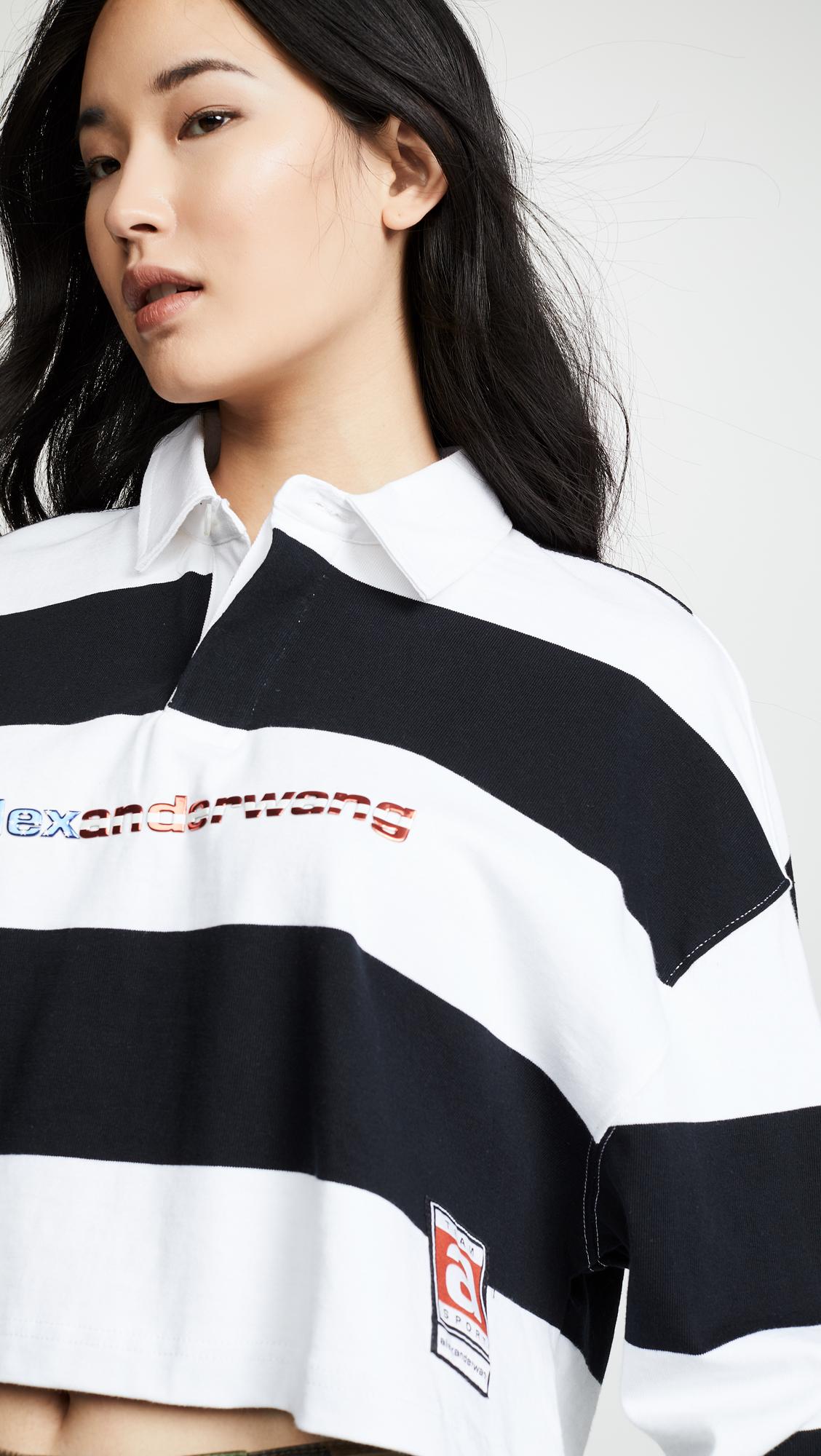 59ba805172fda Alexander Wang Cropped Rugby Stripe Shirt