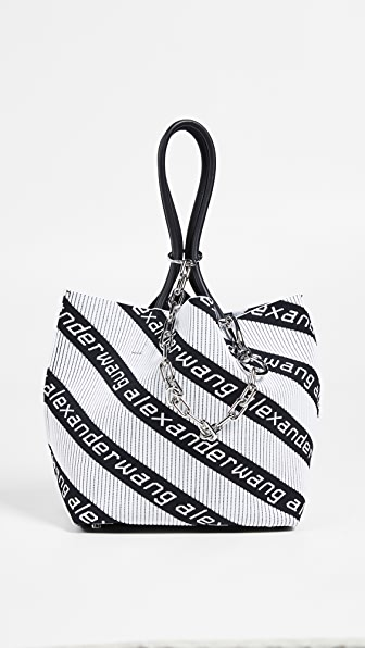 Kint Jacquard Logo Soft Striped Canvas Small Tote Bag in Black/White