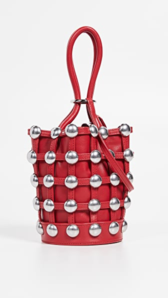 Mini Roxy Studded Cage Leather Bucket Bag - Red