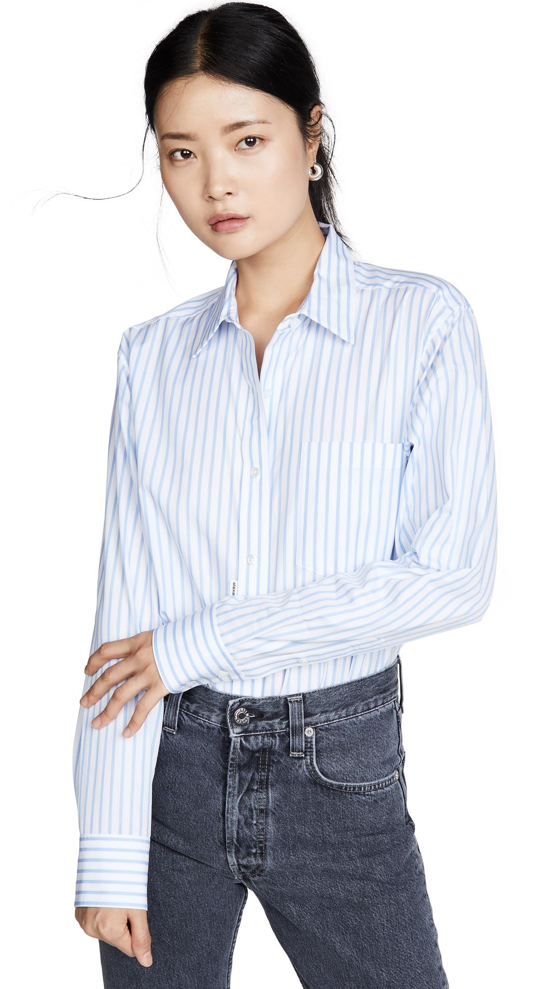 Alexander Wang Button Down Shirt Bodysuit - Blue/White Stripe