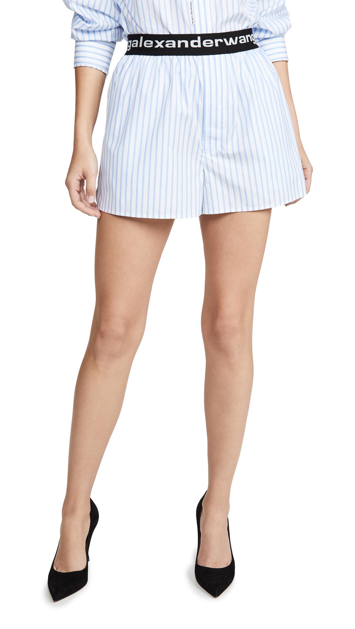 Alexander Wang Boxer Shorts with Logo Elastic - Blue/White Stripe
