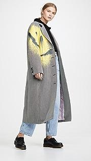 Alexander Wang Drop Shoulder Coat with Spray Paint Happy