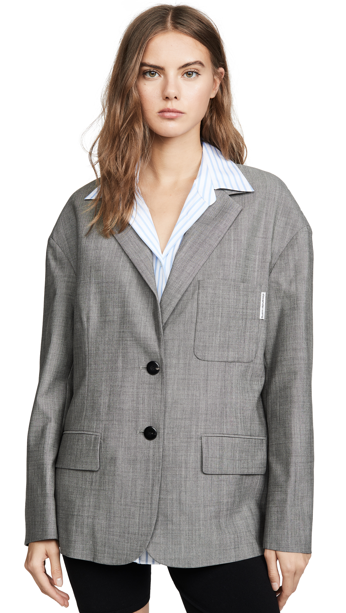 Alexander Wang Mohair Blazer with Poplin Shirt - Grey