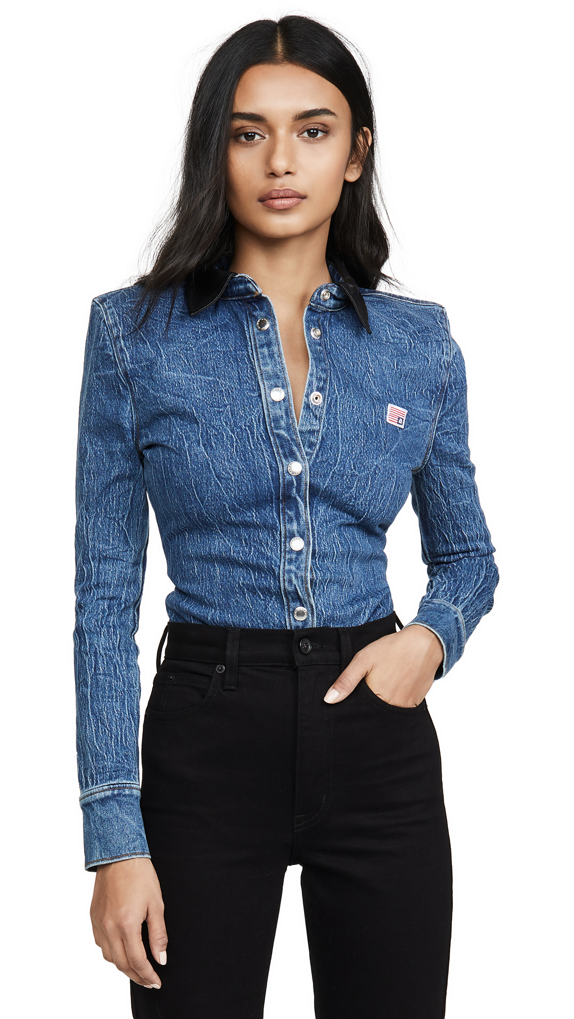 Alexander Wang Denim Button Long Sleeve Shirt with Leather Collar - 30% Off Sale