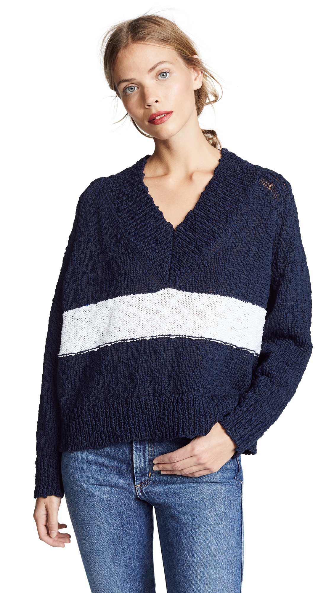 AYR The Little Heaven Sweater in Navy/White Stripe
