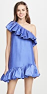 Azeeza One Shoulder Exaggerated Ruffle Mini Dress