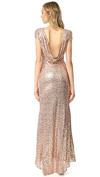 Badgley Mischka Collection Sequin Cowl Back Gown - Blush