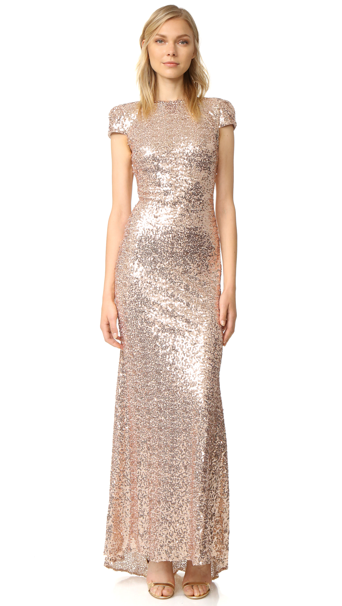 Badgley Mischka Collection Sequin Cowl Back Gown | SHOPBOP
