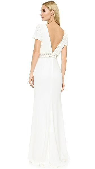 Badgley Mischka Collection Вечернее платье с V-образным вырезом на спине
