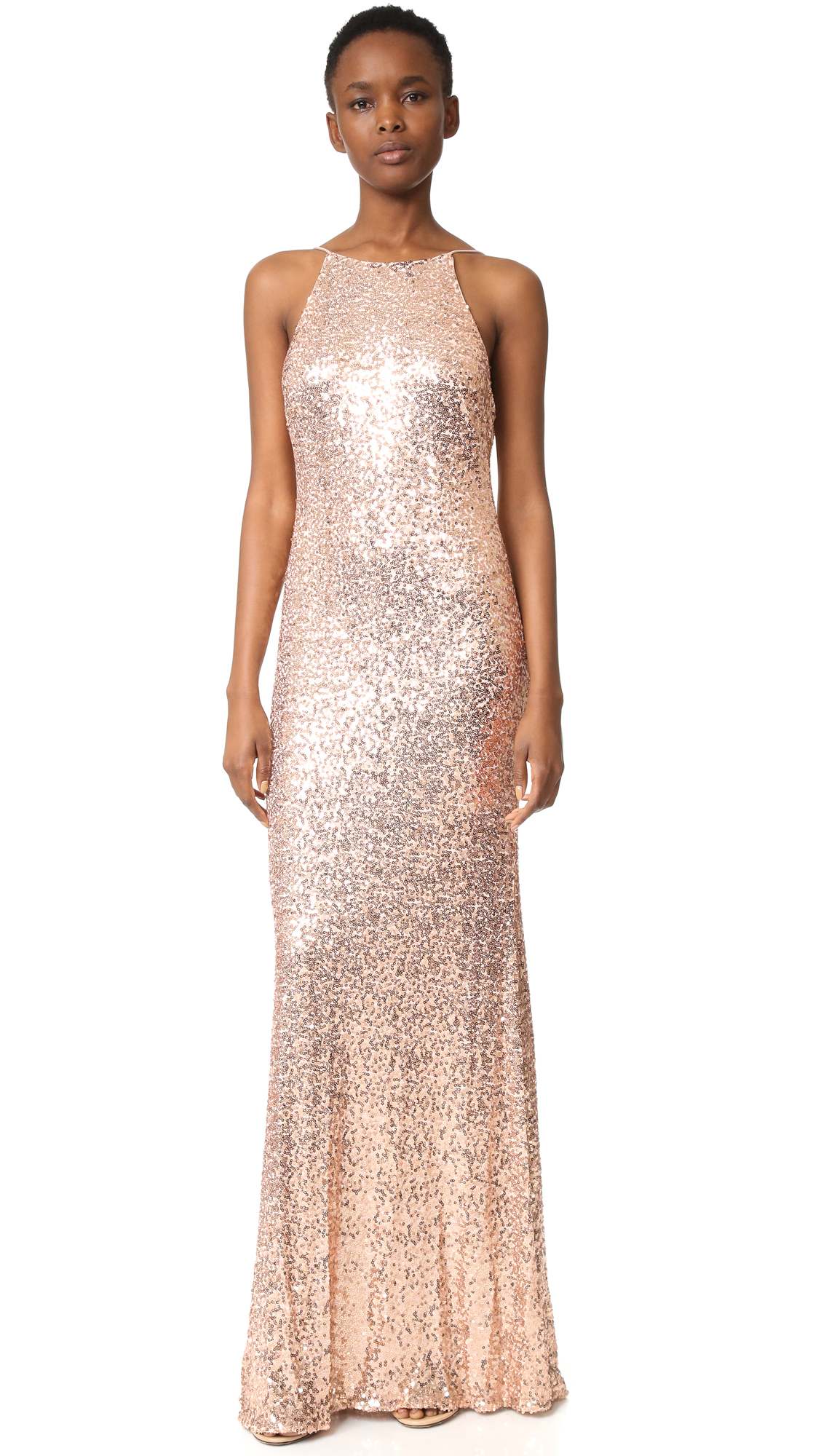 Badgley Mischka Collection Cowl Back Sequin Gown | SHOPBOP