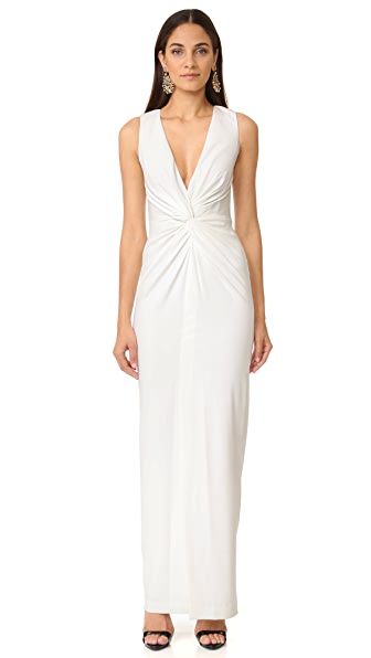 Badgley Mischka Collection Twist Front Gown - Light Ivory