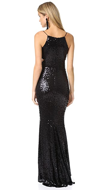 Badgley Mischka Collection Crossover Sequin Gown