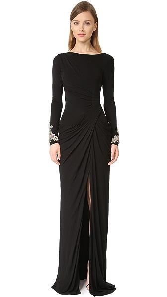 Badgley Mischka Collection Драпированное вечернее платье