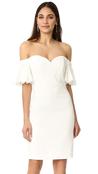 Badgley Mischka Collection Off Shoulder Bell Sleeve Dress - Ivory